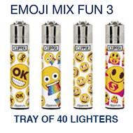 Clipper Flint Lighters with EMOJI MIX FUN 3  Design -  40 pack