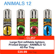 Clipper Flint Lighters with ANIMAL EYES Design -  40 pack