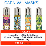 Clipper Flint Lighters with CARNIVAL MASKS Design -  40 pack