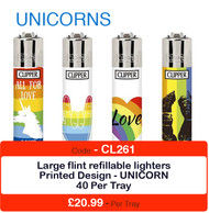 Clipper Flint Lighters with UNICORNS Design -  40 pack