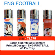 Clipper Flint Lighters with ENGLAND FOOTBALL Design -  40 pack