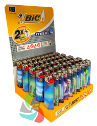 Bic Maxi Large Flint Lighters  AURORA Design  50 Pk