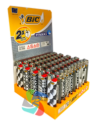 Bic Maxi Large Flint Lighters  GREY PATTERN Design  50 Pk