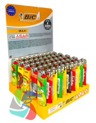 Bic Maxi Large Flint Lighters  RASTA Design  50 Pk