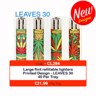 Clipper Flint Lighters with LEAVES 30 Design -  40 pack