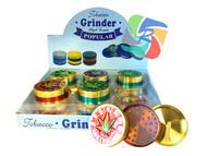 Bright Glitter Coloured Amsterdam Leaf 50mm Metal 3 Part Grinders - 12 pack