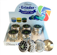 Silver Coloured Amsterdam Leaf Easy Grip 50mm Metal 4 Part Grinders - 6 pack