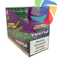 PRE- ROLLED HEMP CYCLONE CONE SHAPED WRAPS - PURPLE - 2 PER PACK (12 PACKS PER BOX)