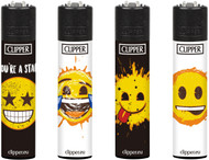 Clipper Flint Lighters with SMILEY ART Design -  40 pack