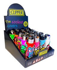 CLIPPER FLINT LIGHTERS WITH POP COVERS - FORTUNA DESIGN - 20 PK