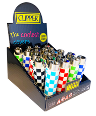 CLIPPER FLINT LIGHTERS WITH POP COVERS - SQUARES DESIGN - 20 PK