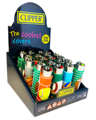 CLIPPER FLINT LIGHTERS WITH POP COVERS - BALLS DESIGN - 20 PK