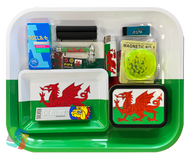 WALES LARGE Metal Rolling Tray Gift Set with Smokers Accessories