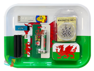 WALES MEDIUM Metal Rolling Tray Gift Set with Smokers Accessories