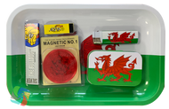 WALES SMALL Metal Rolling Tray Gift Set with Smokers Accessories