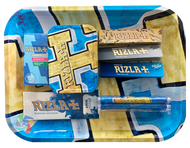 RIZLA MEDIUM Metal Rolling Tray Gift Set with Smokers Accessories