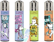 Clipper Flint Lighters with UNICORN SIGNS Design -  40 pack
