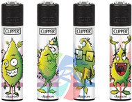 Clipper Flint Lighters with LEAVES FACES Design -  40 pack