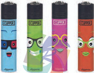 Clipper Flint Lighters with FACES 6 Design -  40 pack