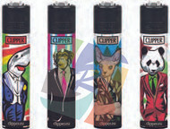 Clipper Flint Lighters with ANIMAL MIX 1 Design -  40 pack