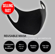 Non-Medical FACE MASKS (with breathing valve) - WASHABLE AND REUSABLE. Black Pack of 1x20