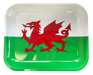 WALES Metal Rolling Trays  - HIGH GLOSS WELSH FLAG DESIGN (4 SIZES)