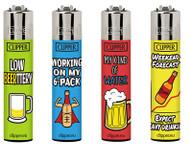 Clipper Flint Lighters with Beer Sentences Design -  40 pack