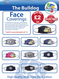 OFFICIAL - THE BULLDOG AMSTERDAM CLOTH FACE COVERINGS - ASSORTED 12PK
