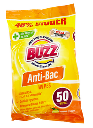 BUZZ LEMON & MANDARIN ANTI-BAC WIPS (50PK)