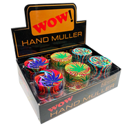 WOW Assorted Colours 50mm Metal 3 Part Grinders with Super colourful LEAF design - 12 pack