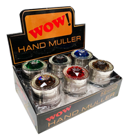 Copy of WOW 50mm Metal 3 Part Silver coloured Grinders with Jewell encrusted effect - 12 pack
