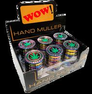 WOW 40mm Metal 4 Part  Black Colour Grinders - with Leaf Designs - 12 pack