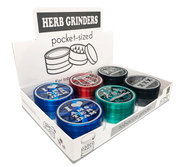 WOW 80mm Metal 4 Part Assorted colours Grinders with Clear top & Amsterdam Designs - 6 pack