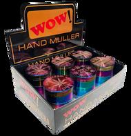 WOW 50mm Metal 4 Part  Purple Petrol Colour Grinders - with Leaf Designs - 6 pack