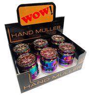 WOW 40mm Metal 5 Part  Purple Petrol Coloured Grinders - with Leaf Designs - 6 pack