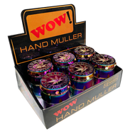 WOW 50mm Metal 5 Part  Purple Petrol Coloured Grinders - with Leaf Designs - 6 pack