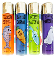CLIPPER LARGE FLINT REFILLABLE LIGHTERS  FUNNY HUMOR DESIGNS (Pack Size: 40)