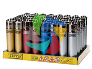 LARGE METALLIC COLOURS  CLIPPER LIGHTERS (Pack Size: 40)