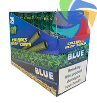 PRE- ROLLED HEMP CYCLONE CONE SHAPED WRAPS - BLUE - 2 PER PACK (12 PACKS PER BOX)