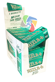 RIZLA GREEN REGULAR ROLLING PAPER MULTI 5 PACK (20 X 5 BOOKLETS PER BOX) (RZ022)