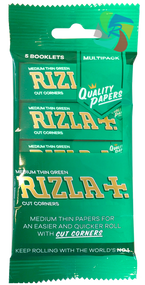 RIZLA GREEN REGULAR ROLLING PAPER MULTI 5 PACK (60 X 5 BOOKLETS PER BOX) (RZ029)