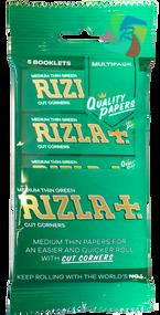 RIZLA GREEN REGULAR ROLLING PAPER MULTI 5 PACK (60 X 5 BOOKLETS PER BOX) (RZ029)