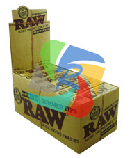 RAW CLASSIC NATURAL UNREFINED PERFORATED GUMMED TIPS (24 BOOKLETS PER BOX) (SKU: RW019)