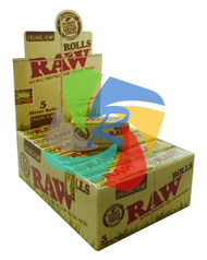 RAW NATURAL UNREFINED ORGANIC HEMP ROLLING PAPERS 5 METER LONG ROLLS (24 PER BOX) (SKU RW022)