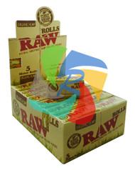 RAW NATURAL UNREFINED ORGANIC HEMP ROLLING PAPERS 5 METER LONG ROLLS (24 PER BOX) (SKU RW022)