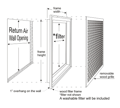 wood filter grille assembly small wall air vent diagram