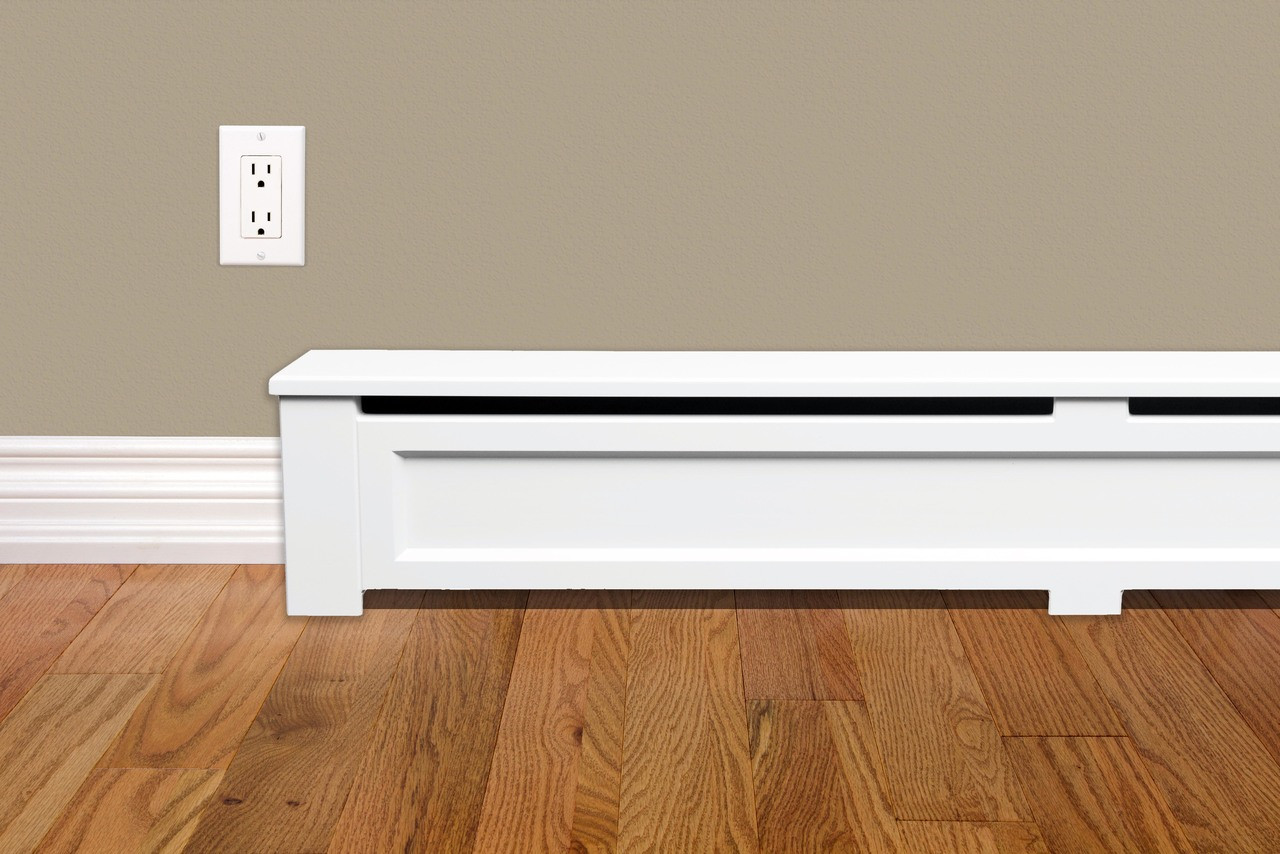 Shaker Style 6 Ft Wood Baseboard Heater Cover Kit In White Vent And Cover