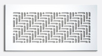 """Custom Herringbone Supply Vent Cover (Almond Texture) - 10"""" x 4"""" opening size (12"""" x 6"""" overall) No mounting holes, with air deflector"""