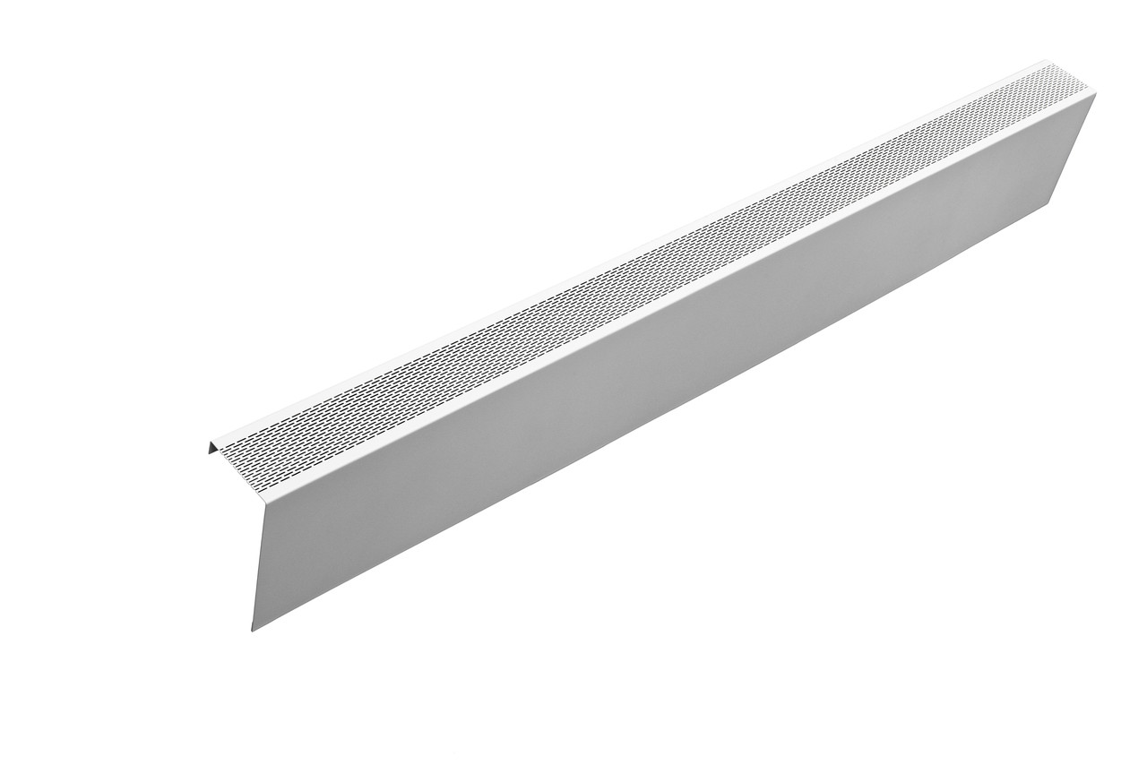 White perforated baseboard heater cover panel