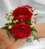 Red and White Wrist Corsage